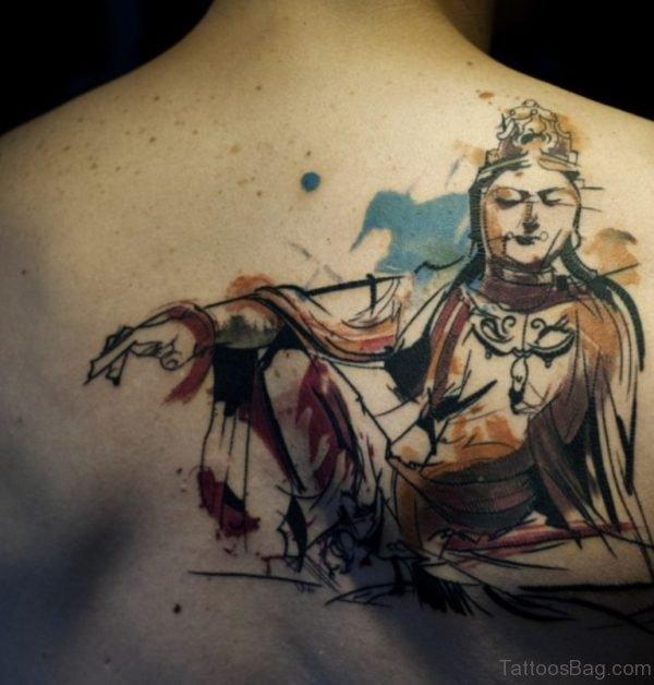 Stylish Buddha Tattoo On Back