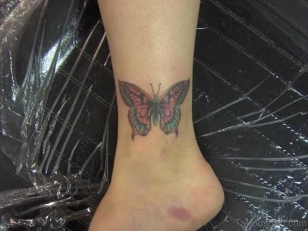 Stylish Butterfly Tattoo On Ankle