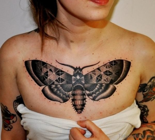 Stylish Butterfly Tattoo On Chest