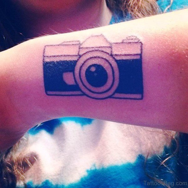 Stylish Camera Wrist Tattoo
