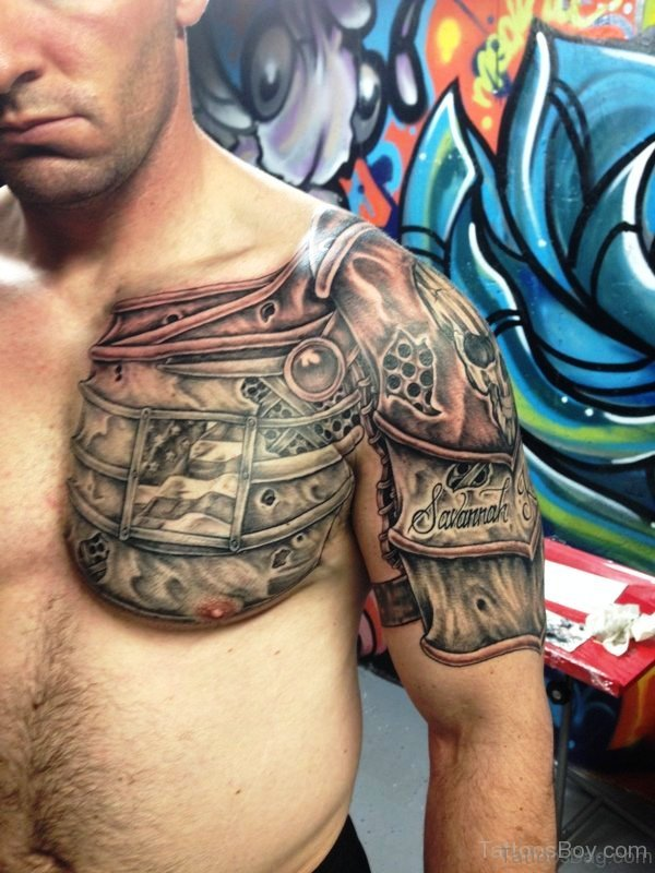 Stylish Chest And Shoulder Armour Tattoo