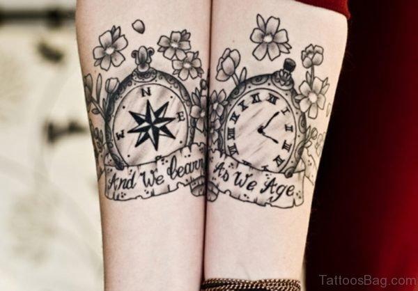 Stylish Clock Wrist Tattoo
