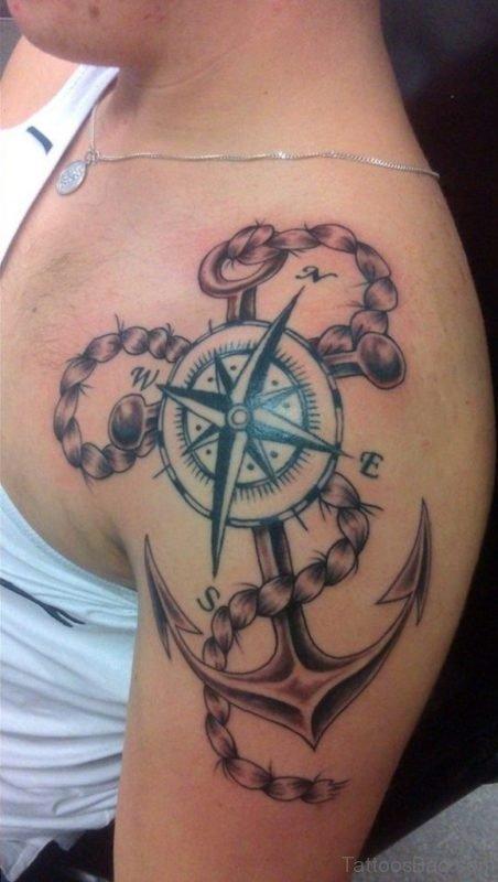 Stylish Compass Shoulder Tattoo