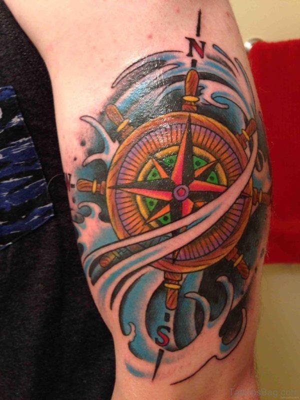Stylish Compass Tattoo Design