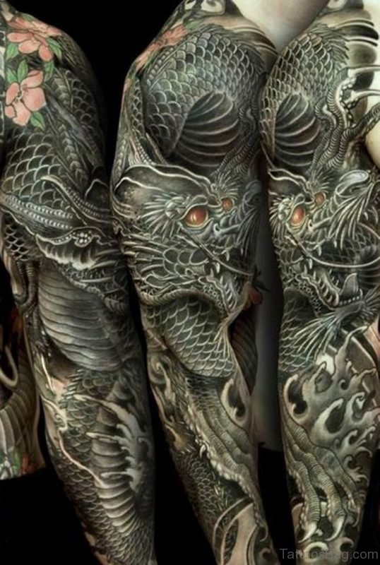 Stylish Dragon Tattoo On Full Sleeve
