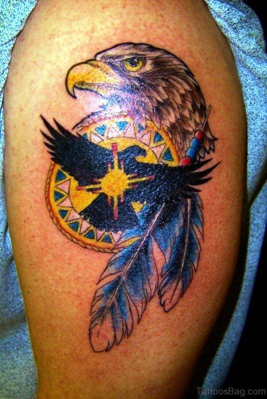 Stylish Eagle Tattoo On Left Shoulder