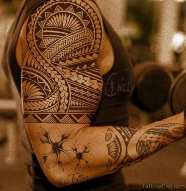 Stylish Full Sleeve Tribal Tattoo For Men
