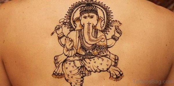 Stylish Ganesha Tattoo On Back