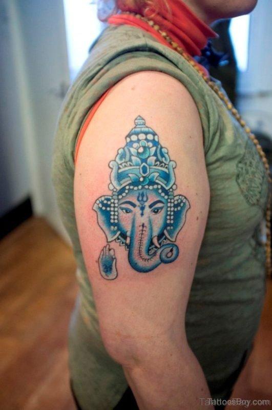 Stylish Ganesha Tattoo On Shoulder