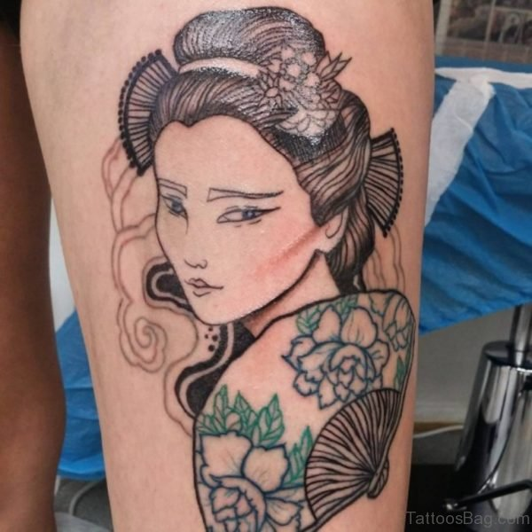 Stylish Geisha Tattoo