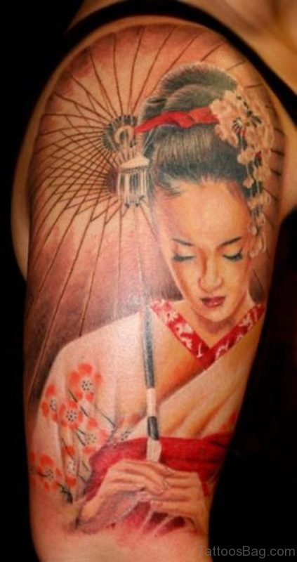 Stylish Geisha Tattoo