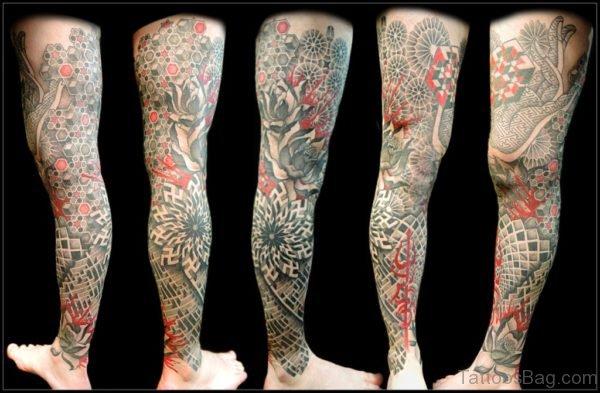 Stylish Geometric Tattoo On Leg