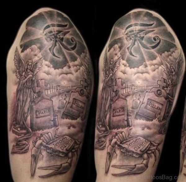 Stylish Half Sleeves Shoulder Tattoo Design