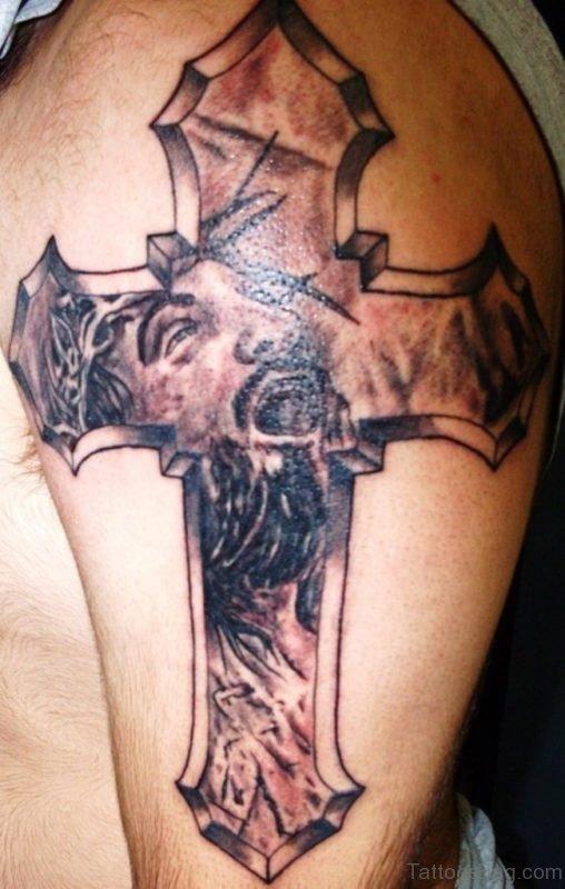 Stylish Jesus Cross Tattoo