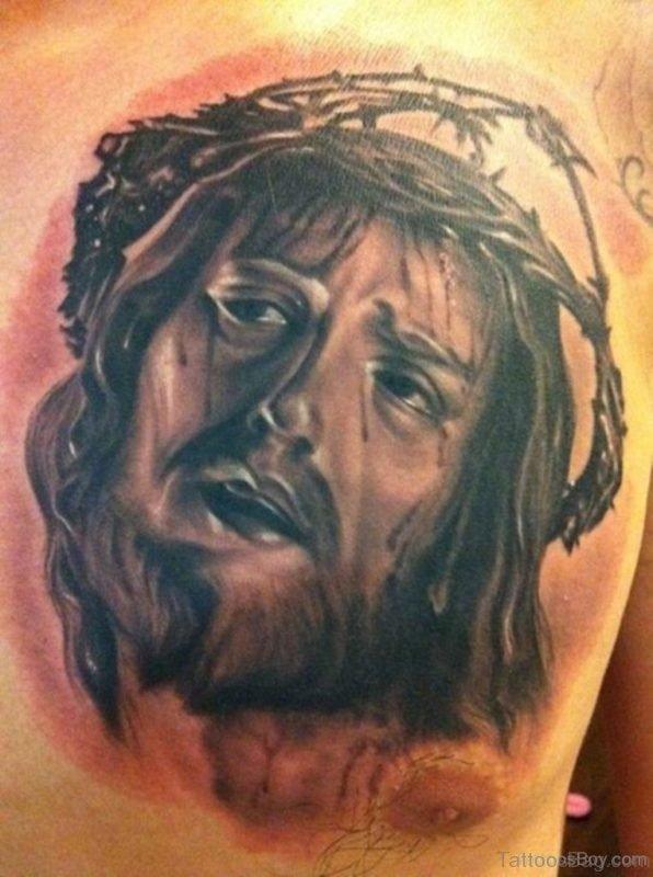 Stylish Jesus Tattoo On Chest