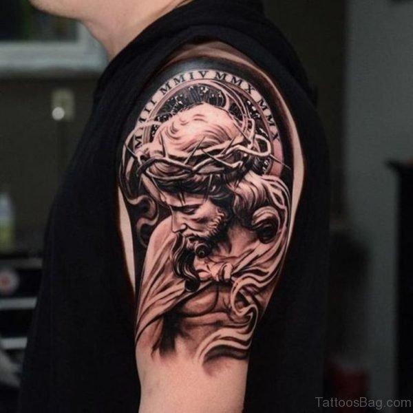 Stylish Jesus Tattoo On Shoulder