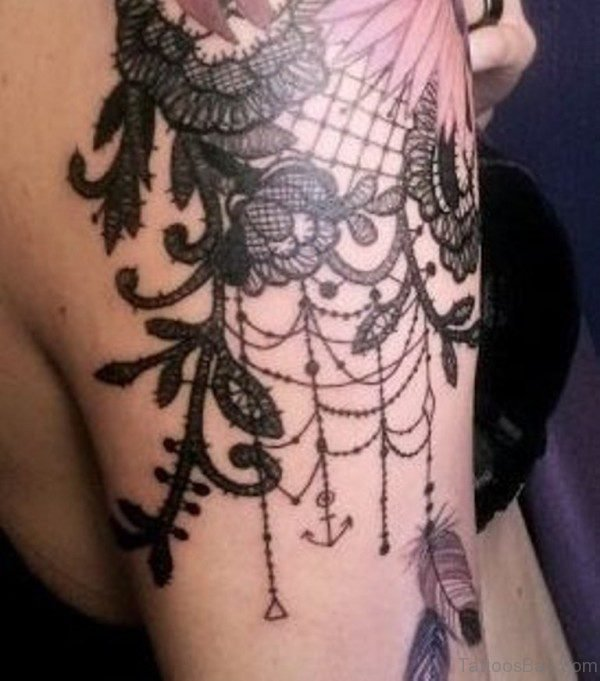 Stylish Lace Shoulder Tattoo
