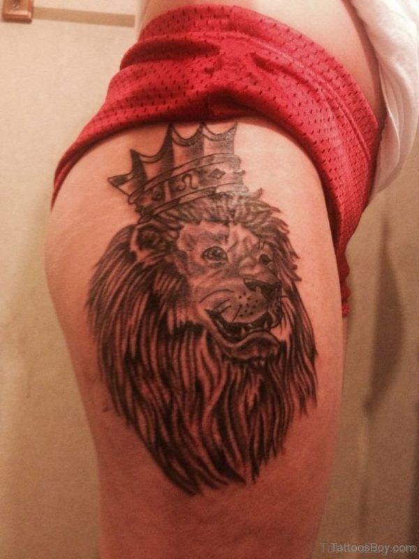 Stylish Lion Tattoo Design On Thigh