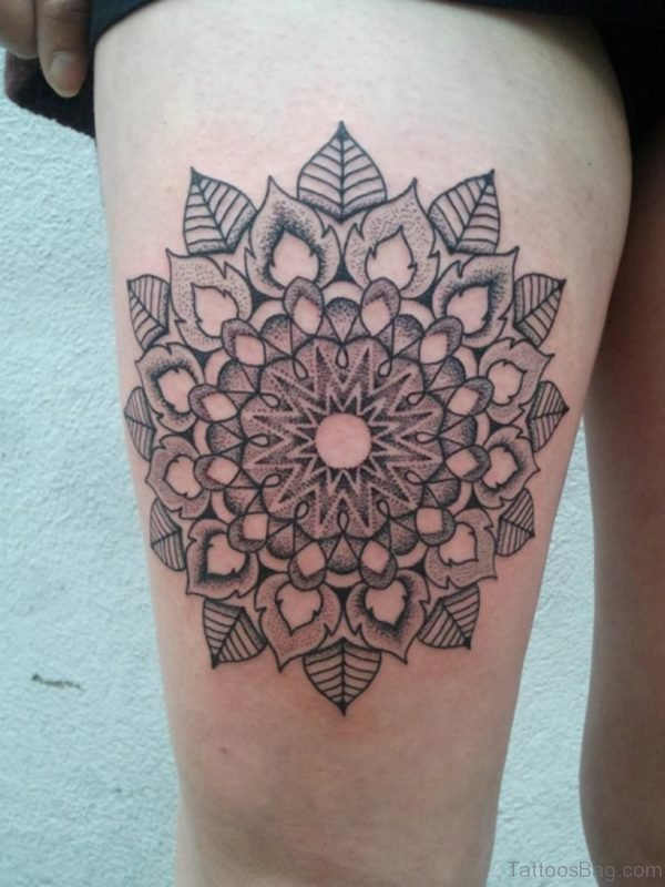 Stylish Mandala Tattoo On Thigh