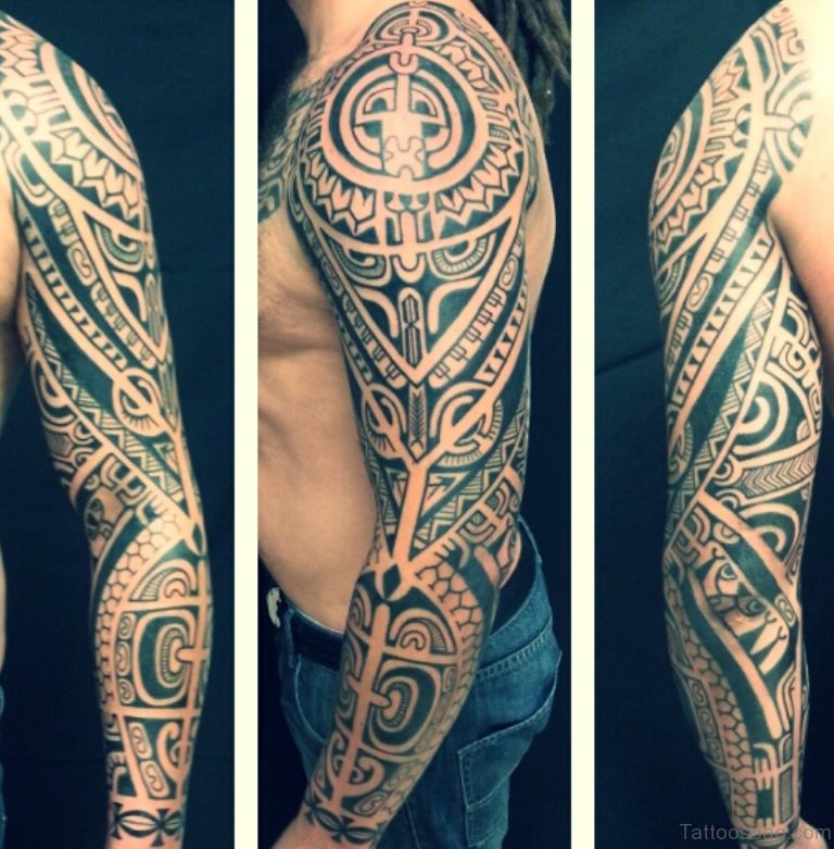56 maori tattoo designs on full sleeve. Black Bedroom Furniture Sets. Home Design Ideas