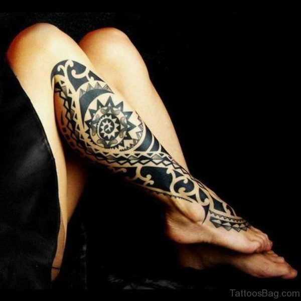 Stylish Maori Tribal Leg Tattoo