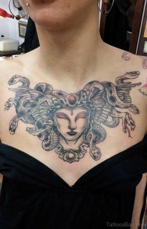 Stylish Medusa Tattoo On Chest