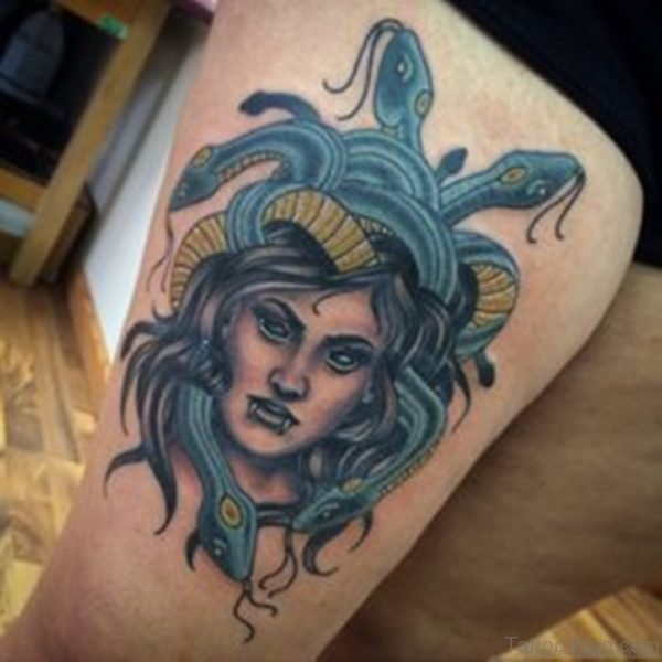 Stylish Medusa Tattoo On Thigh Image