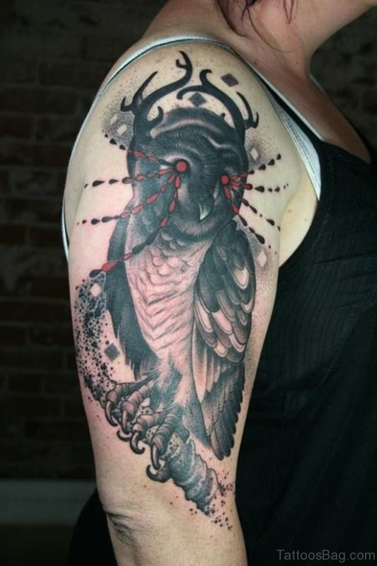 Stylish Owl Tattoo On Shoulder