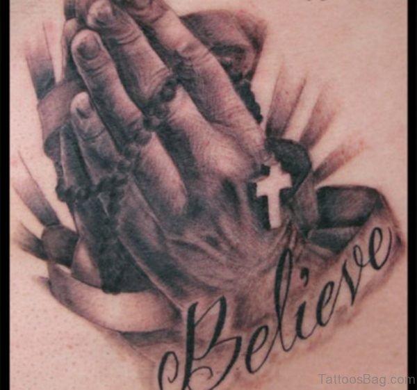 Stylish Praying Hands Tattoo On Rib