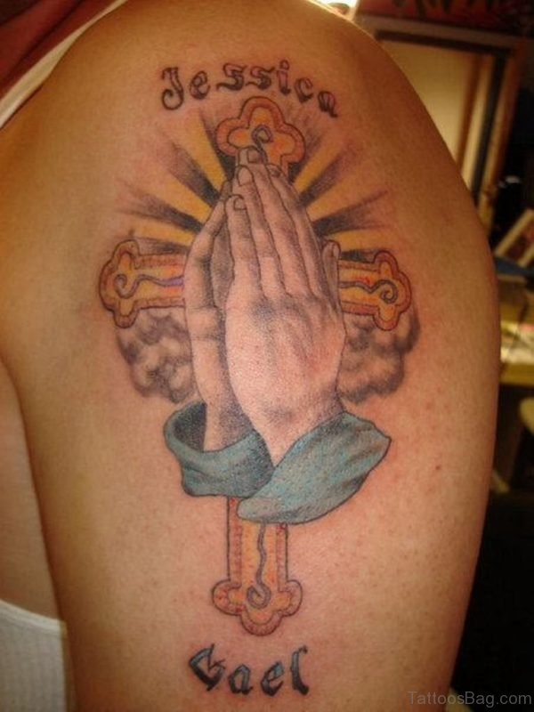 Stylish Praying Hands Tattoo On Shoulder