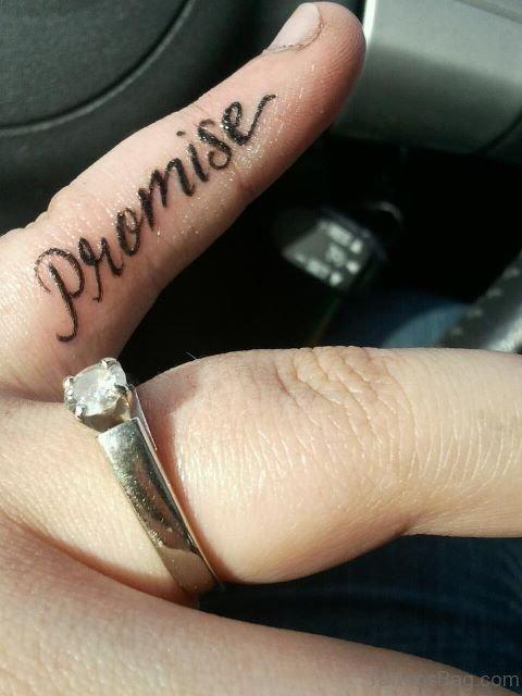 Stylish Promise Tattoo On Little Finger