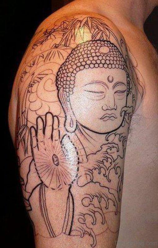 Stylish Religious Tattoo On Shoulders