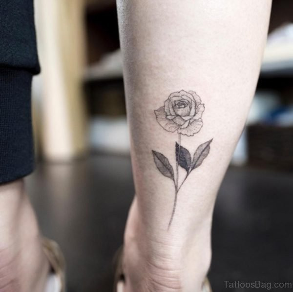 Stylish Rose Tattoo On Ankle