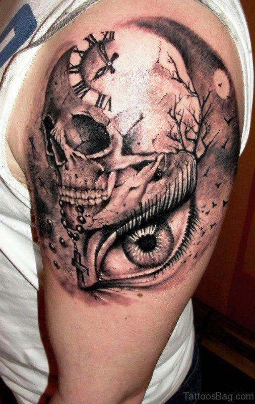 Stylish Skull Clock And Eye Tattoo
