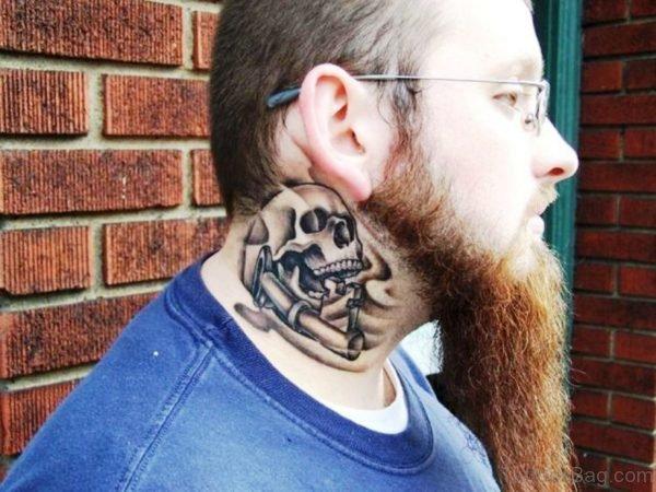 Stylish Skull Tattoo On Neck