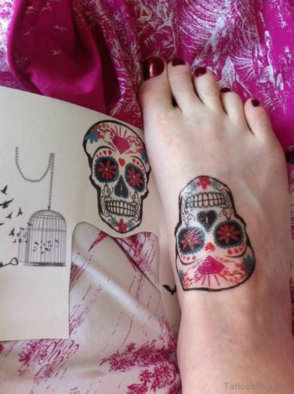 Stylish Skull Tattoo on Foot