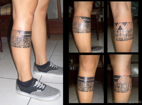 Stylish Tribal Tattoo On Leg