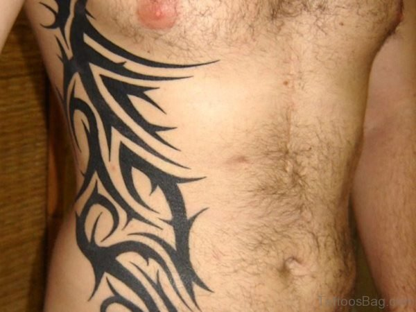Stylish Tribal Tattoo On Rib