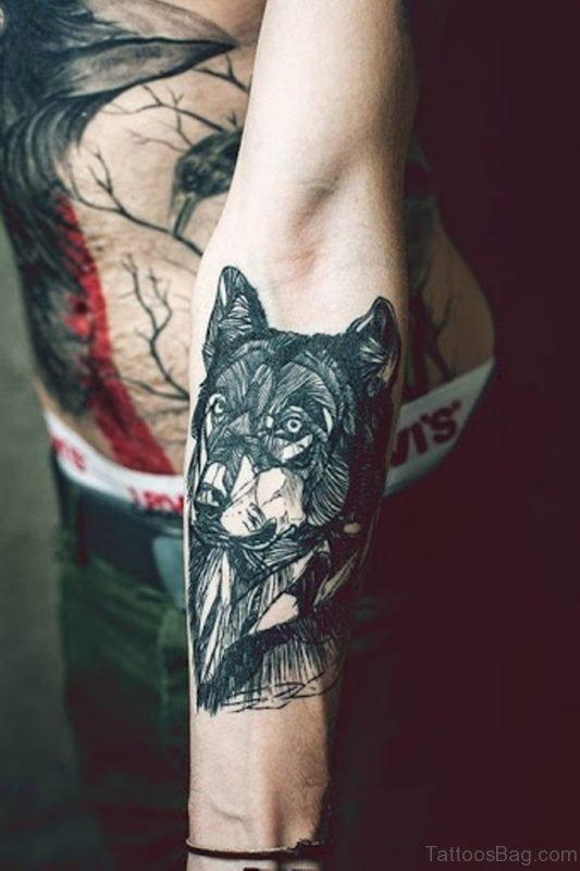 Stylish Wolf Tattoo On Arm