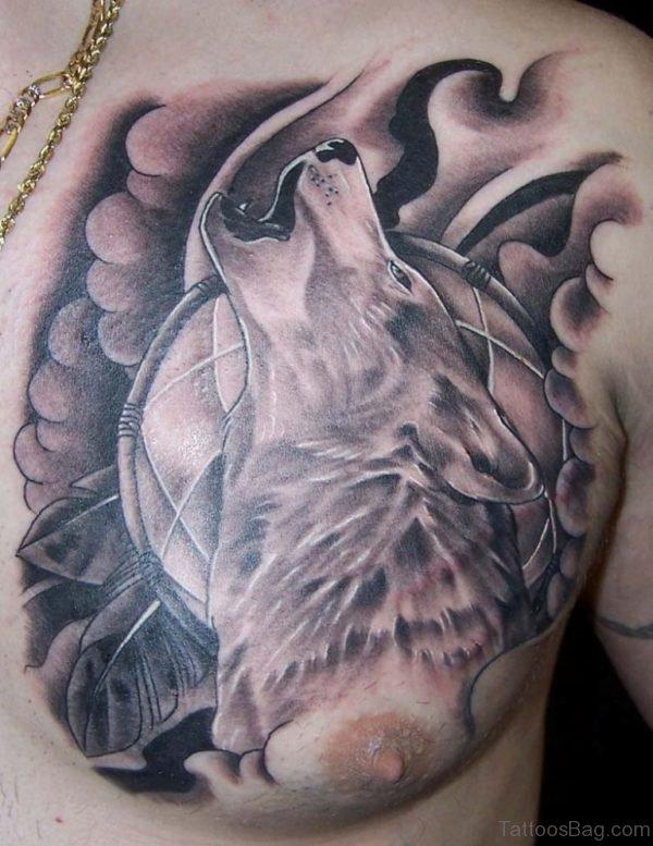 Stylish Wolf Tattoo On Chest