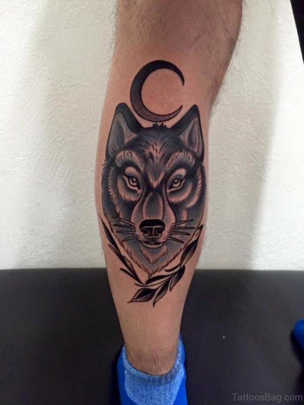 Stylish Wolf Tattoo On Leg
