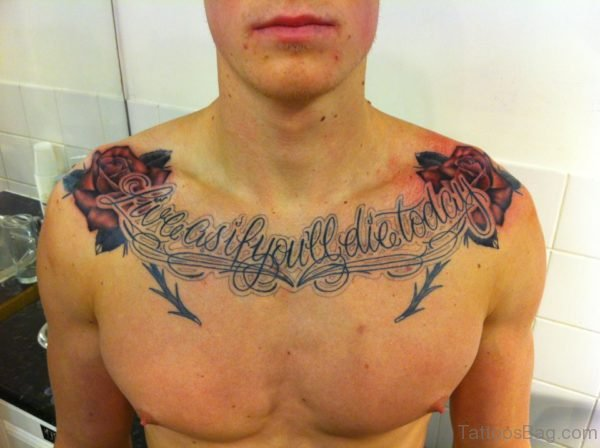 Stylish Word Tattoo On Chest