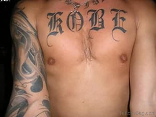 Stylish Word Tattoo On Chest For Men