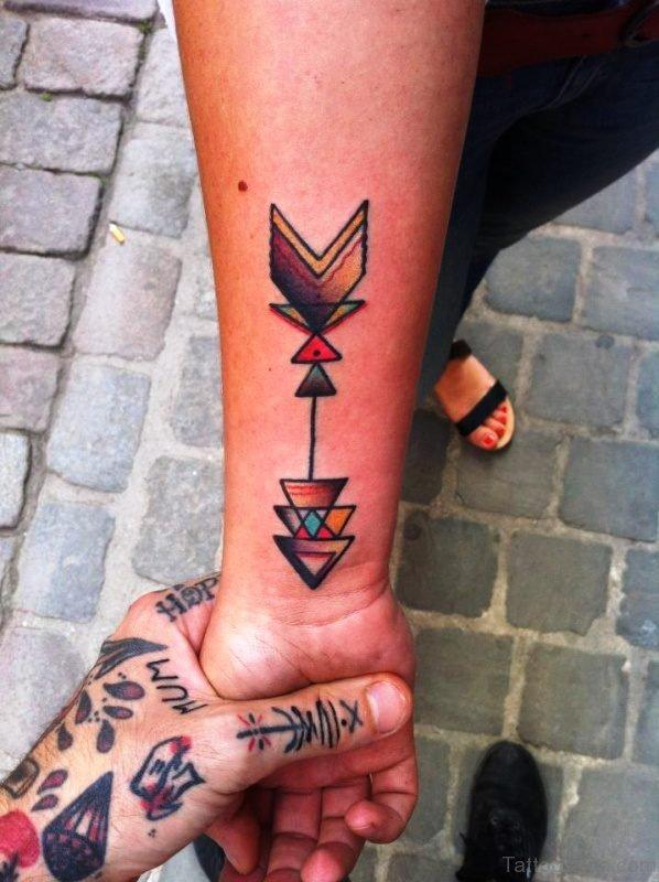 Stylished Colorful Arrow Tattoo On Arm