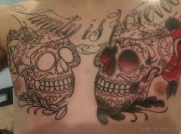 Sugar Skull And Family Tattoo On Chest