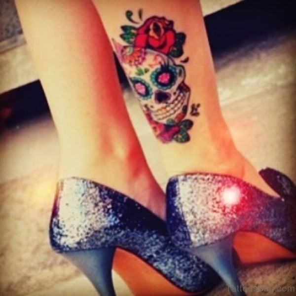 Sugar Skull And Rose Tattoo On Ankle