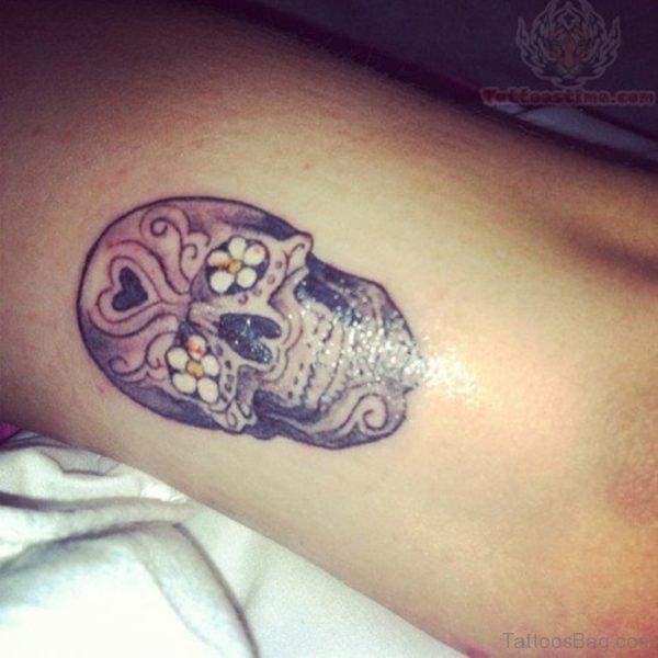 Sugar Skull Flower Eyes Tattoo On Side Rib