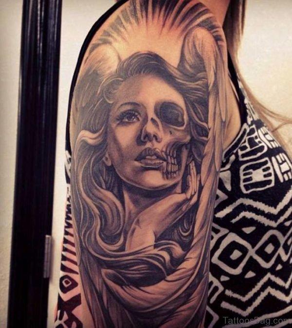 Sugar Skull Girl Portrait Tattoo On Half Sleeve