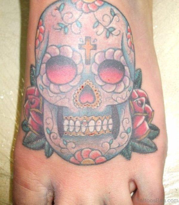 Sugar Skull Red Eyes Tattoo On Foot