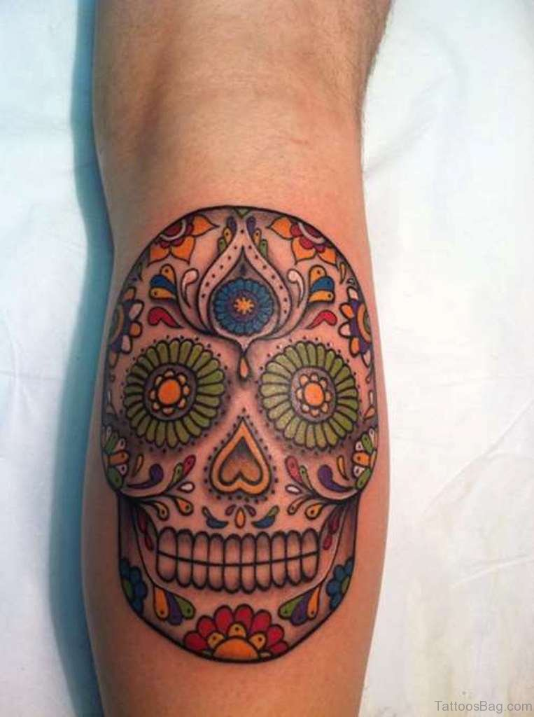 67 stylish skull tattoos for leg for Candy skull tattoo